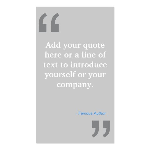 QUOTES in LT GRAY Designer Business Card