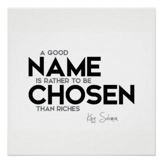 QUOTES: King Solomon: Good name chosen