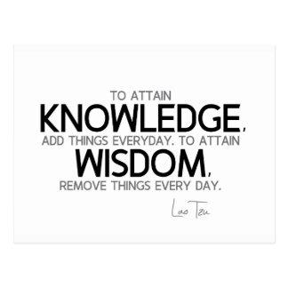 QUOTES: Lao Tzu: Attain knowledge, wisdom Postcard