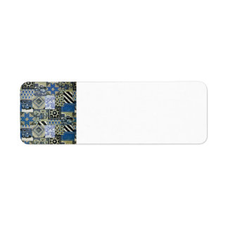 QWL_BluePatchworkQuilt SCRAPBOOKING TEXTILES BLUE Return Address Label