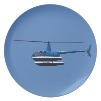 R44 helicopter with floats plate