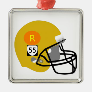 R55 Football Team Silver-Colored Square Decoration