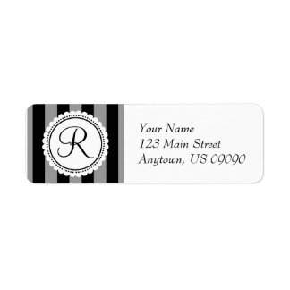 R Candy Striper Monogram Address Labels (Black)