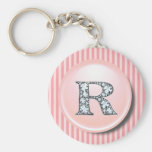 """""""R"""" Diamond Bling with Vintage Pink Circle Frame K Basic Round Button Key Ring"""