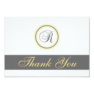 R Dot Circle Monogam Thank You Cards (Yellow/Gray) 9 Cm X 13 Cm Invitation Card