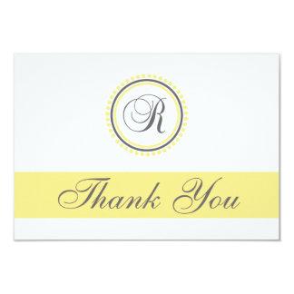 R Dot Circle Monogam Thank You Cards (Yellow/Gray) Custom Invites