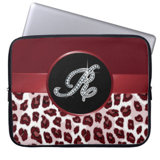 "R Faux- ""Diamond Bling"" on Leopard Laptop Sleeve"