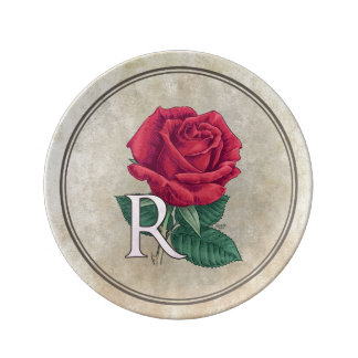 R for Rose Floral Alphabet Monogram Plate