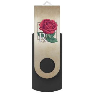 R for Rose Floral Alphabet Monogram Swivel USB 2.0 Flash Drive