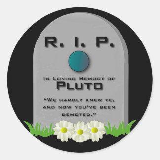 R.I.P. Pluto Round Stickers
