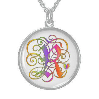 "R Initial Monogram ""Gothic Sunshine"" Necklaces Custom Jewelry"