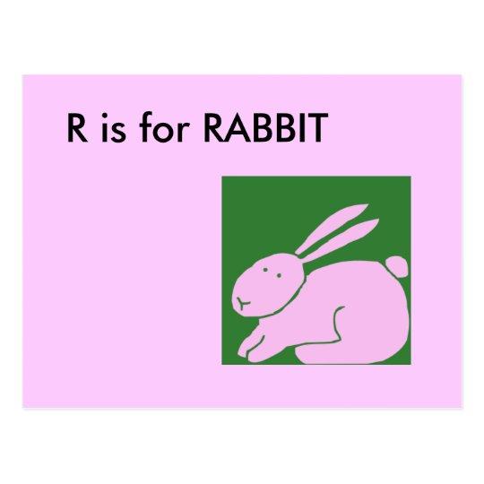 """R"" is for Rabbit Alphabet Flashcard Postcard"