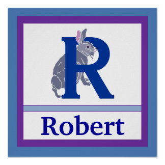 R is for Rabbit and Boy Name Wall Art for Kids Poster