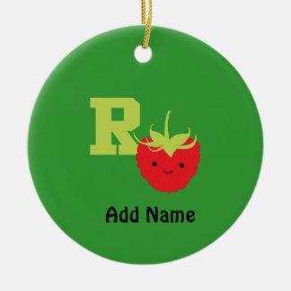 R is for Raspberry Round Ceramic Decoration