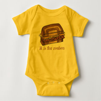 R is for Reuben Sandwich Foodie Alphabet Initial Baby Bodysuit