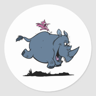 R is for Rhino Classic Round Sticker