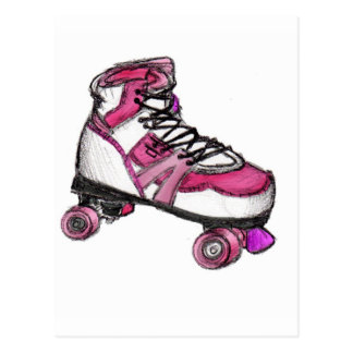 R is for Rollerskate Post Card