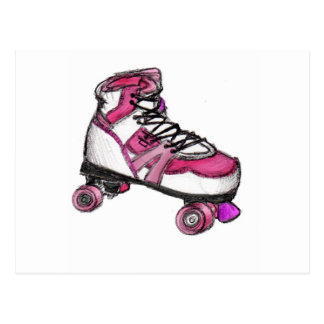 R is for Rollerskate Postcard