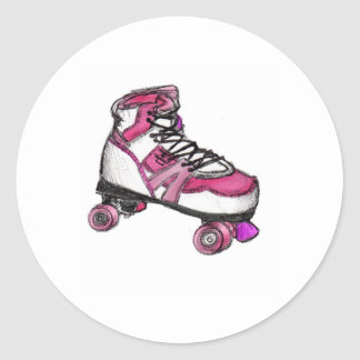 R is for Rollerskate Round Stickers