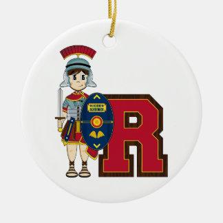 R is for Roman Soldier Round Ceramic Decoration