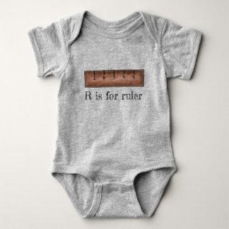 R is for Ruler Mathematics Math Class School ABCs Baby Bodysuit