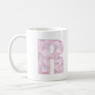 R - Low Poly Triangles - Neutral Pink Purple Gray Basic White Mug