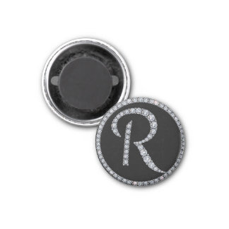 R monogram bling magnet