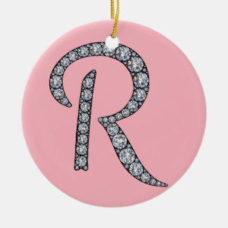 R monogram bling ornament