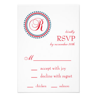R Monogram Dot Circle RSVP Cards Red Blue