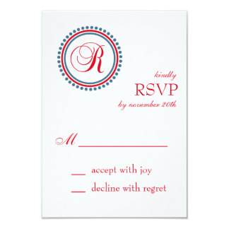 R Monogram Dot Circle RSVP Cards (Red / Blue) Announcement