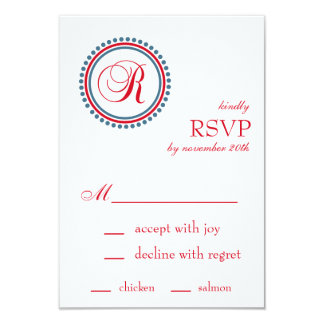 "R Monogram Dot Circle RSVP Cards (Red / Blue) 3.5"" X 5"" Invitation Card"
