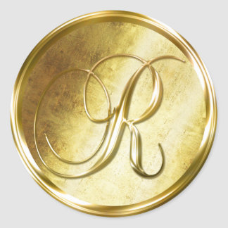 R Monogram Faux Gold Envelope Seal Stickers