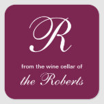 R Monogram From the Wine Cellar of Square Labels Square Sticker