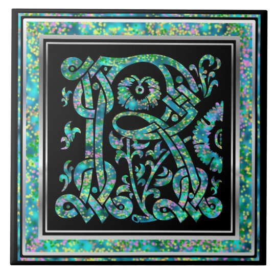 "R Monogram ""Masselle Blue"" Ceramic Tiles"