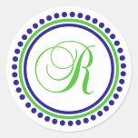 R Monogram (Navy Blue / Lime Green Dot Circle) Round Sticker