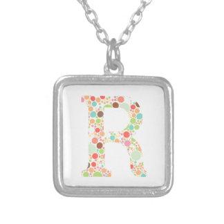 R monogram square pendant necklace