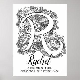 R monogram tangle art Rachel name meaning Poster