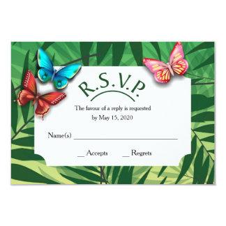 R. S. V. P. with tropical designs 9 Cm X 13 Cm Invitation Card