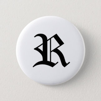 R-text Old English 6 Cm Round Badge