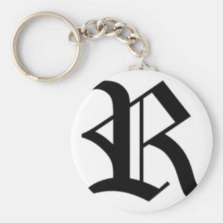 R-text Old English Key Ring