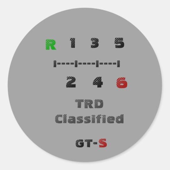 R, TRD Classified, 1   3   5, I----I----I----I,... Classic Round Sticker