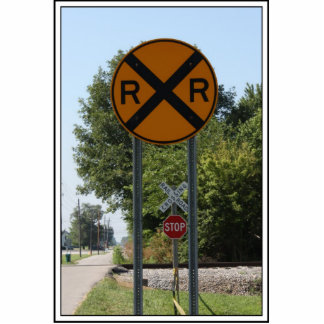 R X R - Railroad Crossing Sign Standing Photo Sculpture