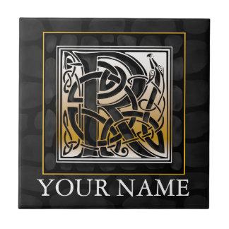 "R ""Your Name"" Celtic Black Stone Monogram Tile"