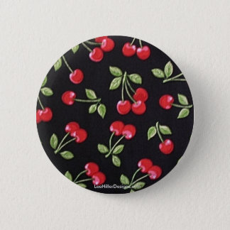 rab billy Rockabilly Red Cherries on Black  Gifts 6 Cm Round Badge