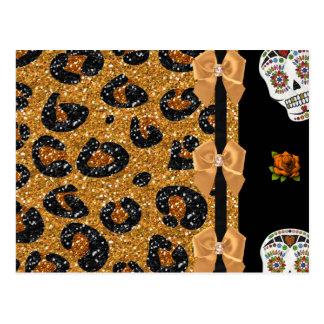 RAB Rockabilly Gold Leopard Print Sugar Skulls Postcard