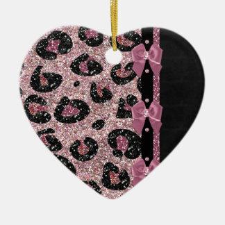 RAB Rockabilly Pink Leopard Print Ribbon Bows Ceramic Heart Decoration