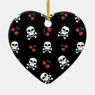 RAB Rockabilly Skulls and Cherries on Black Christmas Ornament