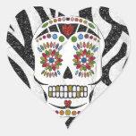RAB Rockabilly Sugar Skull on Zebra Print Heart Sticker