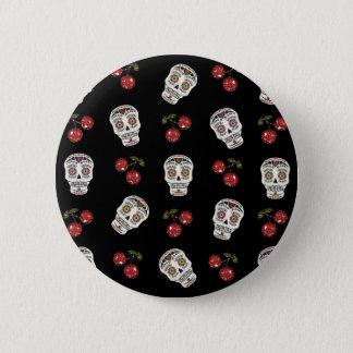 RAB Rockabilly Sugar Skulls Cherries On Black 6 Cm Round Badge