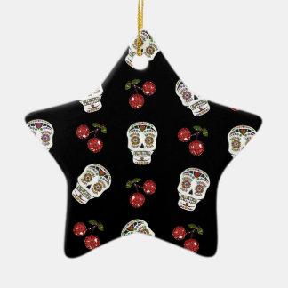 RAB Rockabilly Sugar Skulls Cherries On Black Ceramic Star Decoration